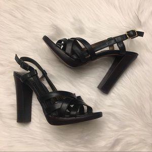 Black Leather Strappy Platform Sandals 37  | Aldo