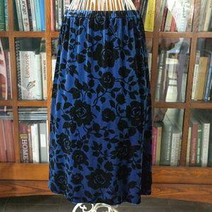 Velvet floral midi skirt