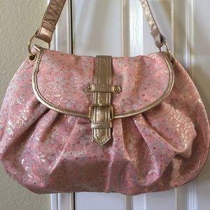 Pink gold brocade hobo bag