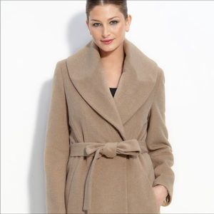 Calvin Klein Wool Belted Wrap Trench Coat (brown)