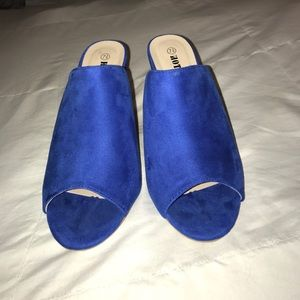 Royal blue high heel mules