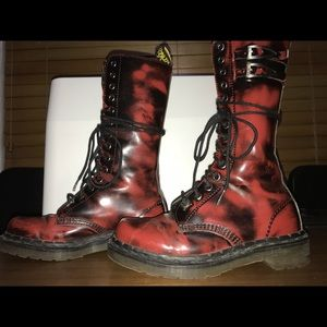 Dr. Martens Red/black 14 eye lace up combat boots