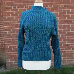 Vintage 80s rare three tone mock neck sweater
