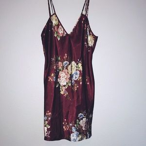 Women's Sexy Vintage Red Silk Floral Lingerie Slip