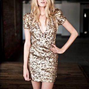 French Connection Gold Sequin Cocktail Dress Sz 4