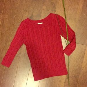 Loft Red Cable Knit Wide Neck Sweater