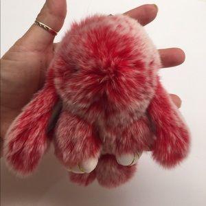 Accessories - Reb faux fur bunny key chain