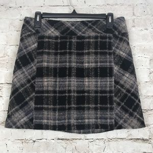 Free People Size 8 Wool Blend A-Line Plaid Skirt