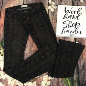 Free People Black with Floral Print Jeans