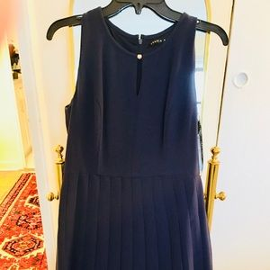 NWOT Classic Pleated Navy Dress