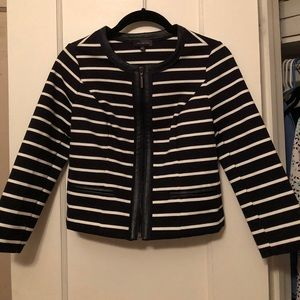 The Limited Navy and White Zip-Up Blazer