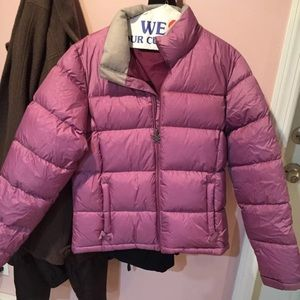 Jansport Women Large Snowflake Purple Puff Jacket