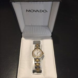 Women's movado two toned diamond watch
