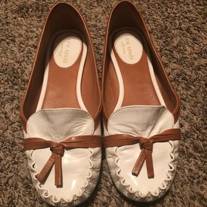 Kate Spade Lacey White Leather & Brown Flats
