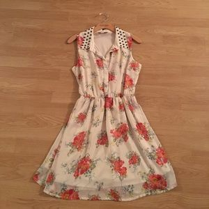 White Floral Studded Collared Dress