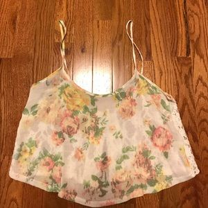 Floral and Lace Crop Top