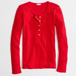 J Crew Waffle Henley Top Size Small Red