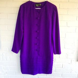 VIntage YL deep purple silk drop waist dress