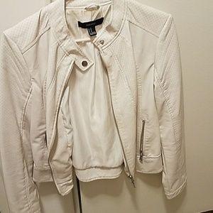 Forever 21 white leather jacket