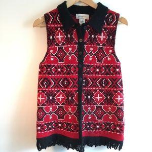 Vintage Wool Nordic Vest w/ Fringe