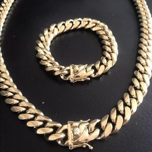 Other - 14k Gold Over Stainless Cuban Bracelet & Chain Set