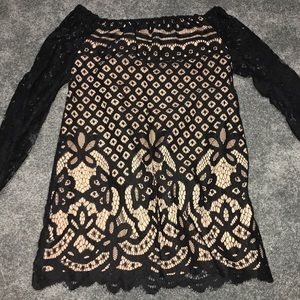 Off-The-Shoulder Lace Shift Dress