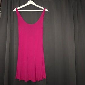 Hot pink scoop back T-shirt dress