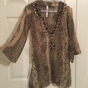 Beaded bathing suit cover up