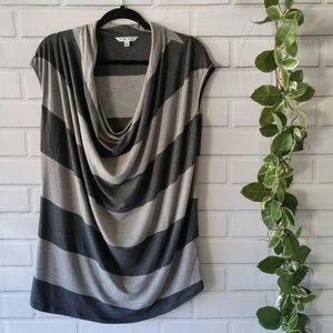 CAbi Style #620 Gray Stripe Cowl Neck Top