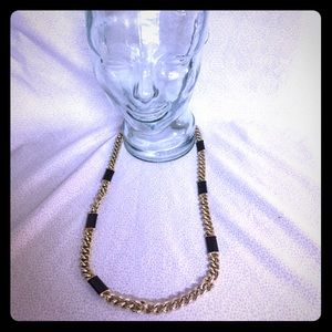 Banana Republic long gold and black chain necklace