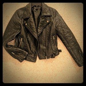 Faux Leather Jacket-XXI