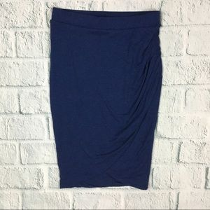 Zara Trafaluk Blue Faux Wrap Stretch Midi Skirt