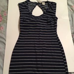 Navy and white striped dress size small