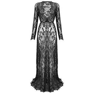 Nasty Gal Sheer Lace Long Sleeve Maxi Dress