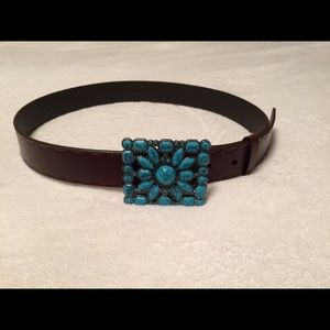 NWT Brown Belt with Turquoise Buckle
