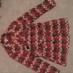 Jackets & Blazers - Checkered Peacoat