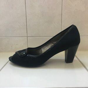 Matte Black Peep-Toe Heels with Button Detail