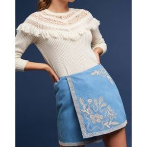 Anthro Chambray Embroidered Mini Skirt