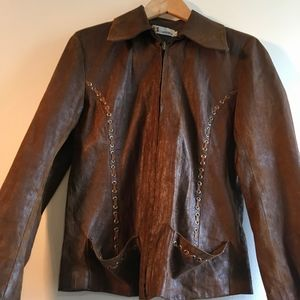 Brown Faux Leather Jacket w/ Silver Embellishment