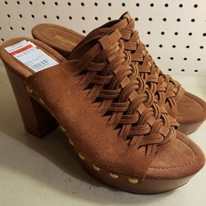 MICHAEL KORS RUST SUEDE CLOGS