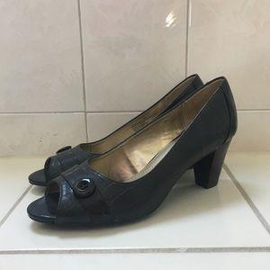 Dark Brown Faux Alligator Peep-Toe Heels