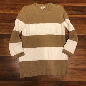 LOFT white and tan striped cotton sweater