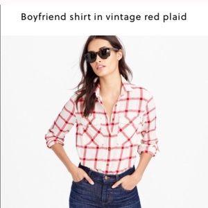 JCrew Boyfriend Shirt Vintage Red Plaid