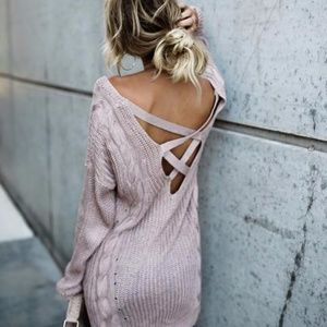 Mauve Criss Cross Back Cable Knit Sweater