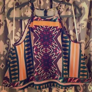 Gianni Binni *Aztec Print* Swing Cropped Tank Top
