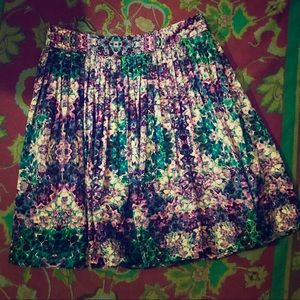 LIZ CLAIBORNE Purple Teal Pleated Floral Skirt 10