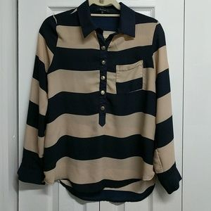 Monteau Navy/Tan Nautical Striped Popover Shirt