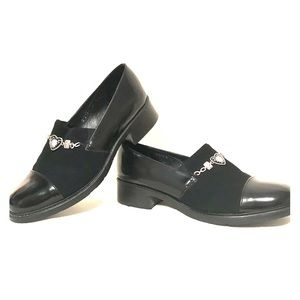 Brighton Leather Slip-on Shoes Black Size 9.5