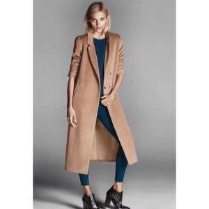 Longline camel trench coat