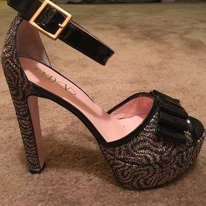 Red Valintino Black Patent Box Gold Sandals